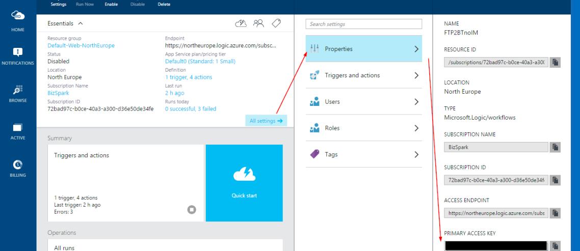 Screenshot 1 - Primary Access Key