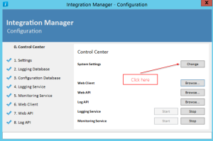 Integration Manager - Configuration Application - system settings