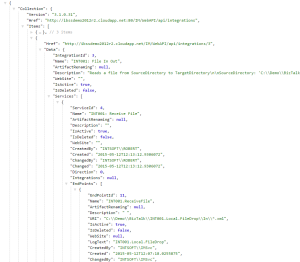 Picture 2: Result of integrations API call